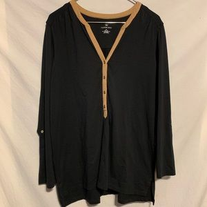 Lands end 1X 16/18W black shirt tan trim 2211